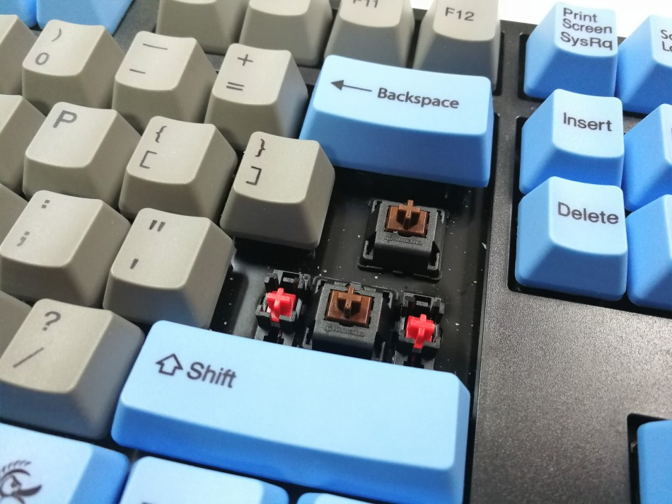 Ducky one cherry mx brown switch close up shot