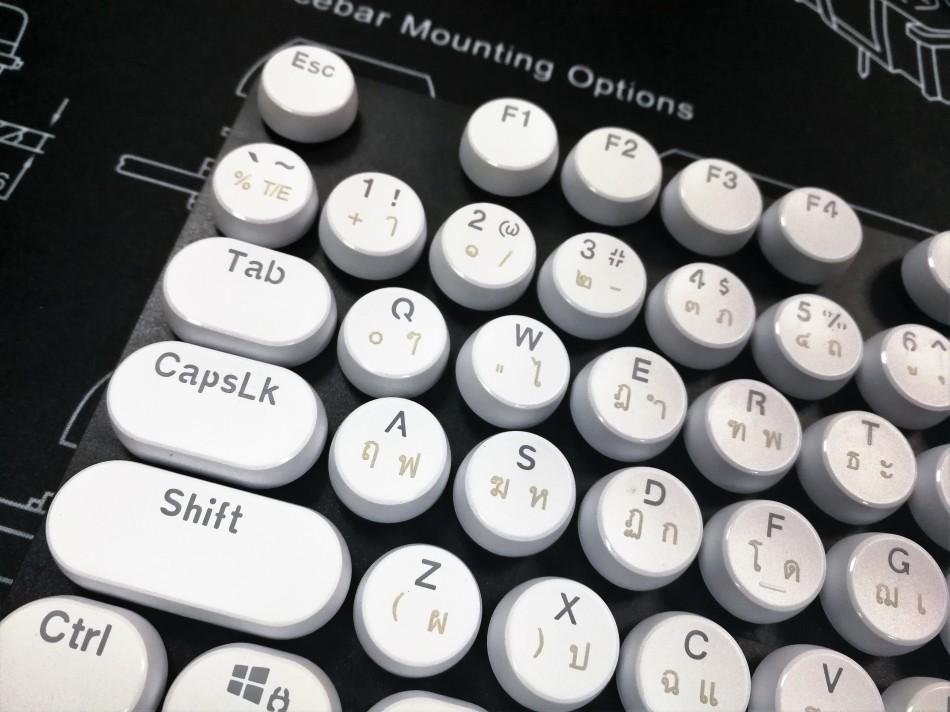 Vintage Keycaps - White - สีขาวแคปกลม